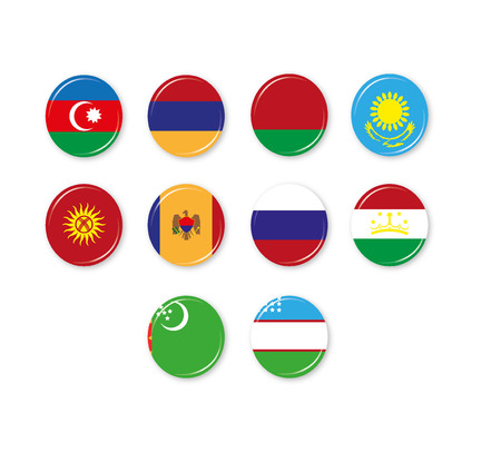 commonwealth: Flag badges of the CIS. Commonwealth of Independent States. Illustration