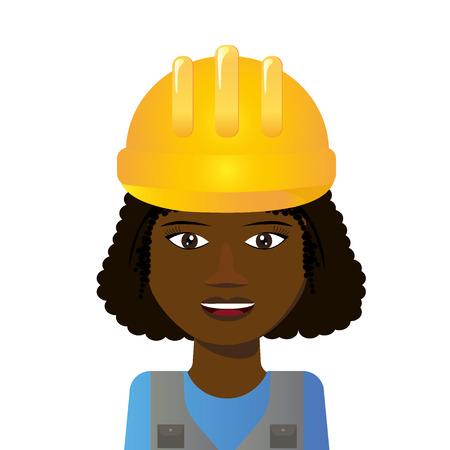 Young black woman in helmet Vector