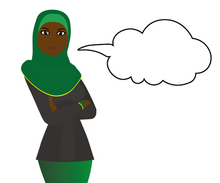 Black muslum girl with message bubble Vector