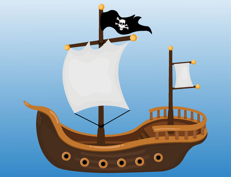 pirate skull: Pirate ship Illustration