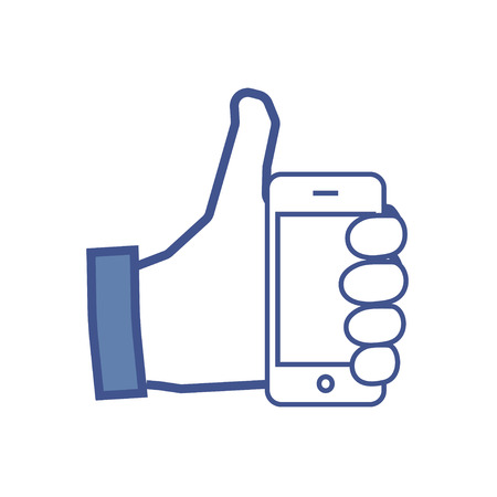 Facebook like flat icon with cell phone