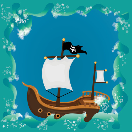 Sailing background with sea and pirate ship Vector
