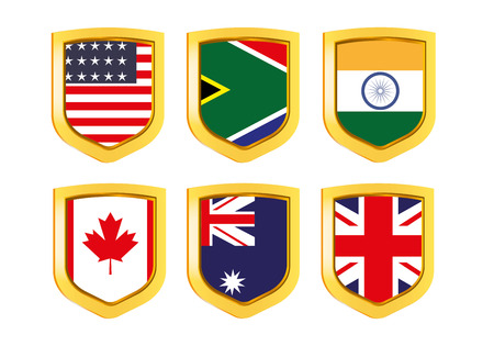 rsa: Shields with flags: USA, RSA, Great Britain, Canada, Australia Illustration