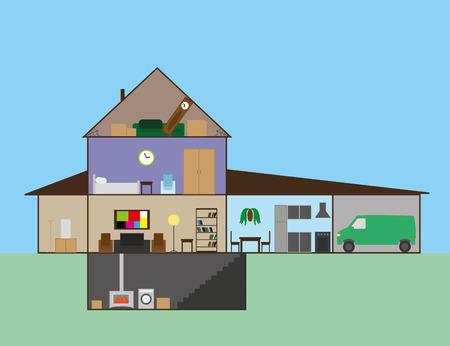 plan maison: plan de maison avec des meubles