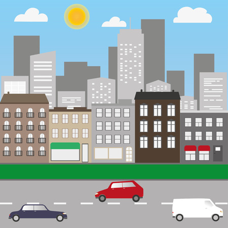 City landscape with cars and shops