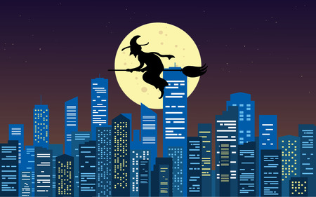 Witch silhouette flying over the city