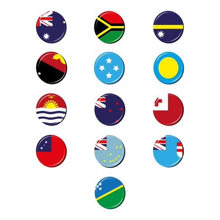 oceania: Oceania flags badges Illustration