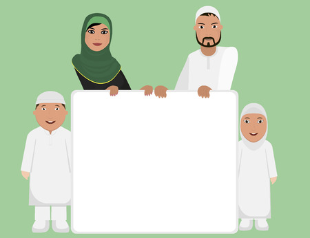 arab adult: Muslim family with sign Illustration