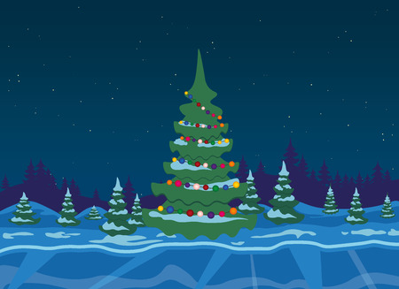 winter tree: Winter forest with christmas tree Illustration