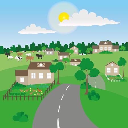 Summer village landscape