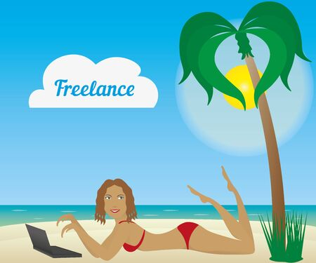tanned girl: Beautiful tanned girl laying on a beach with laptop. Freelancer logo.