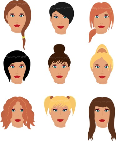 pony tail: Set of woman haircuts