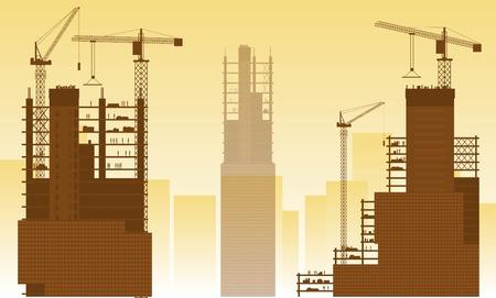 Construction site, building houses Stock Illustratie