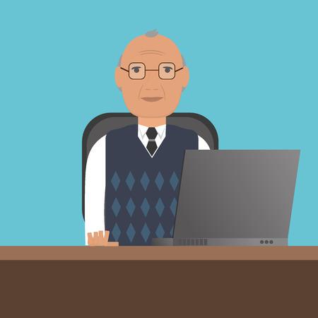 노트북을 가진 시니어 남자