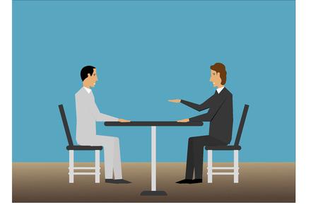 Sollicitatiegesprek met de mens Stock Illustratie