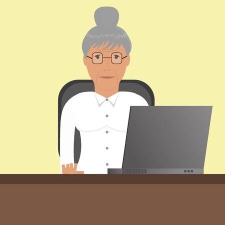 alte frau: Gro�mutter (alte Frau) mit Laptop Illustration