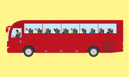 Touristic bus with kids  イラスト・ベクター素材