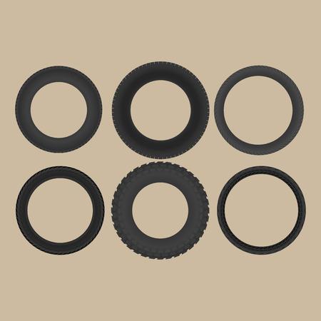 tubeless: Set of six tires Illustration