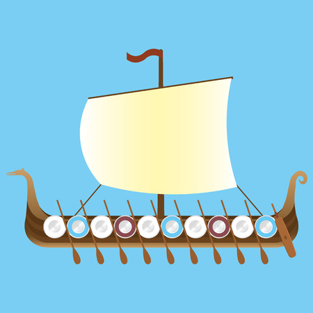 pirate crew: Drakkar viking long ship Illustration