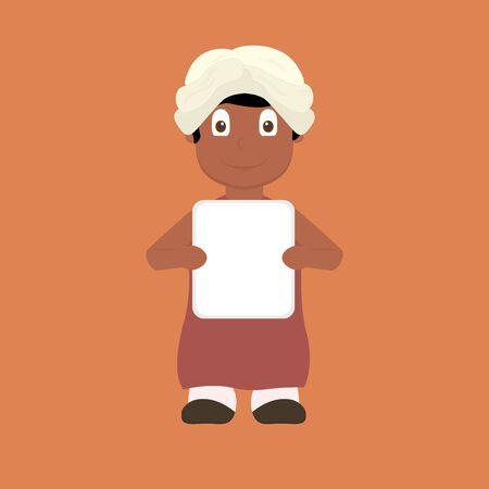 indian boy: Cartoon indian boy holding blank sign Illustration