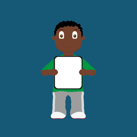 african boy: Cartoon african boy holding blank sign