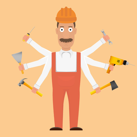 workaholic: Six arms with tools woker