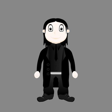 Goth styled boy Stock Illustratie