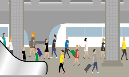 tren caricatura: Gente que espera el tren en el metro Vectores