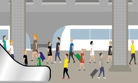 People waiting train in subway Stock Illustratie