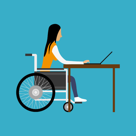 handicapped: Handicapped woman working with laptop