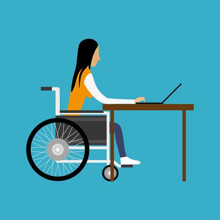 discapacidad: Mujer con discapacidad trabajan con el portátil