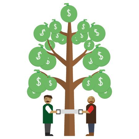sawing: Men sawing money tree