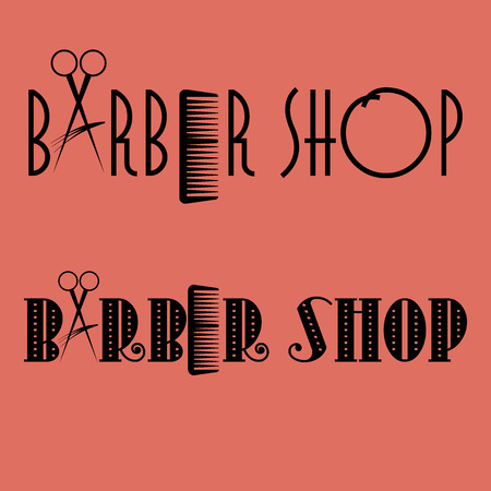 barber pole: Barber shop with scissors and comb