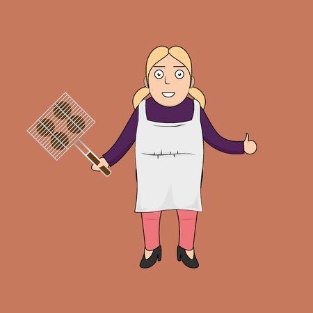 hombres maduros: Mujer feliz de dibujos animados con barbacoa Vectores