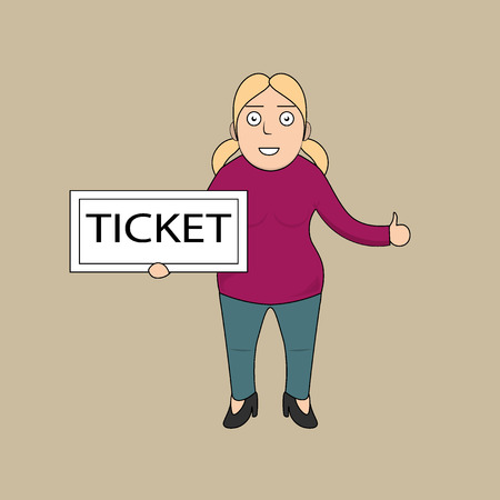 happy woman: Happy woman with ticket
