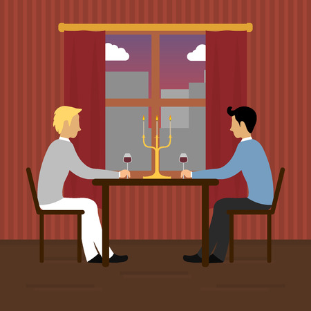 dating: Dating dinner with gays Illustration
