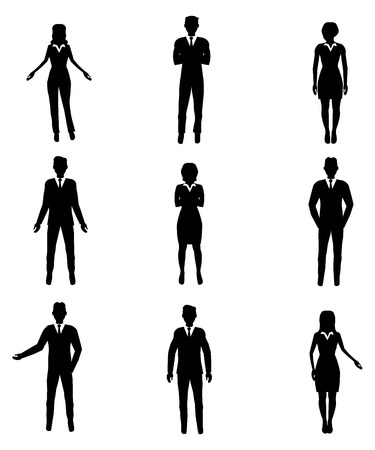 Business mensen silhouetten Stock Illustratie