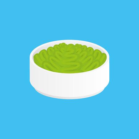 wasabi: Wasabi for sushi in bowl Illustration