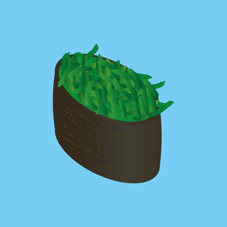 uni: Gunkan-maki with chuka salad. Japanese sushi. Illustration
