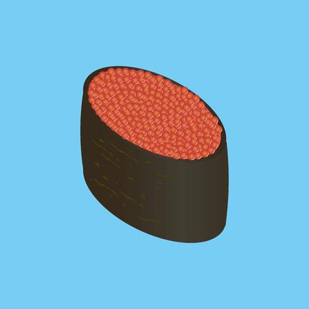 caviar: Gunkan-maki au caviar rouge. Sushis japonais.