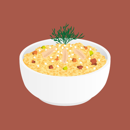 cooked rice: Fried Rice With Chicken and Vegetables - tyachun Illustration
