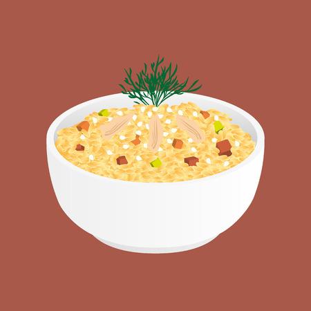 reis gekocht: Gebratener Reis mit Huhn und Gem�se - tyachun Illustration
