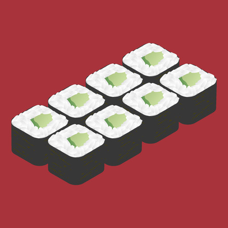 sushi roll: Sushi roll with cucumber. Japanese food.