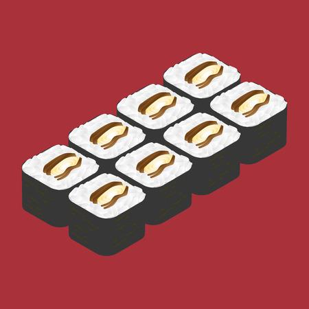sushi roll: Rullo di sushi con l'anguilla. Cibo giapponese. Vettoriali