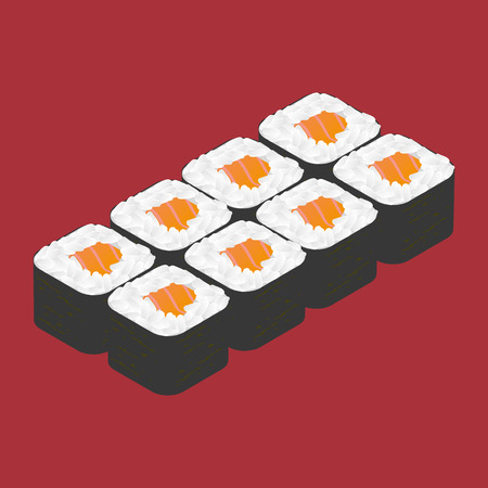 sushi roll: Sushi roll with salmon. Japanese food.