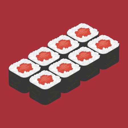 sushi roll: Rotolo di sushi con tonno. Cibo giapponese. Vettoriali