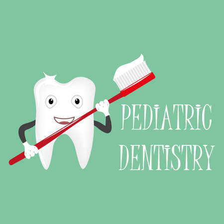 pediatric: Tooth with a toothbrush, smiling. Pediatric dentistry