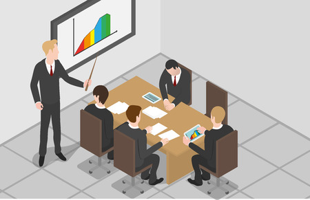 Isometric design of meeting in the office 矢量图像