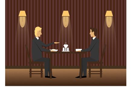 business dinner: Business dinner in restaurant Illustration