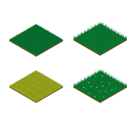 soil texture: Set of isometric grass tiles Illustration
